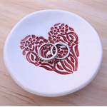 Red porcelain ring holder, jewellery holder. Ceramic ring bowl. Wedding gift