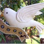 White DOVE of HOPE, 40% OFF,  Needle Sculpted Fabric Bird, On Sale