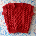 Size 1 Red Cable Hand Knitted Paton's Patontyle Vest