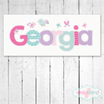 (PINK PURPLE BLUE BIRDS & BUTTERFLIES ) Personalised Door Plaque 28x12cm