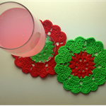 Coaster/candle mat - cotton flower