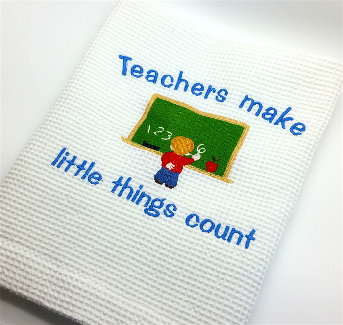 A Decorative Tea Towel for the Teacher, with a Machine