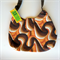 Ladies Handbag - Retro Brown Swirls - cotton, handmade, bag, purse