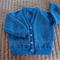 SIZE 2 Yrs - Hand knitted cardigan, light blue & white, acrylic, washable,