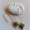 Argentium Sterling Silver & mottled olive green Czech bead earrings