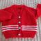 Size 1 yr old, hand knitted, aqua & white,unisex, washable, acrylic,