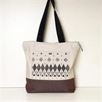 Geometric Zipper Tote Bag,  Travel bag,