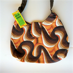 Ladies Handbag - Retro Brown Swirls - cotton, handmade, bag, purse
