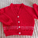 Size 2-3 Hand knitted cardigan in Red & white, Washable, Acrylic, unisex