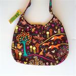 Ladies Handbag - Retro Brown Woodland Animals -cotton, handmade, bag, fox, tree