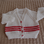 Size 1 Hand knitted cardigan in red & white, Washable, Acrylic, unisex
