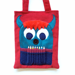 Red corduroy monster colouring in bag with pencil teeth