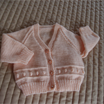 Size 1 yrs, cardigan, pale apricot, unisex, washable, acrylic, by CuddleCorner