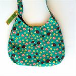 Ladies Handbag - Retro Hedgehogs - green, cotton, handmade, bag, purse