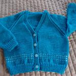 SIZE 3-4 Yrs - Hand knitted cardigan, aqua & white, acrylic, washable