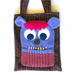Purple & Maroon stripe corduroy monster colouring in bag with pencil teeth