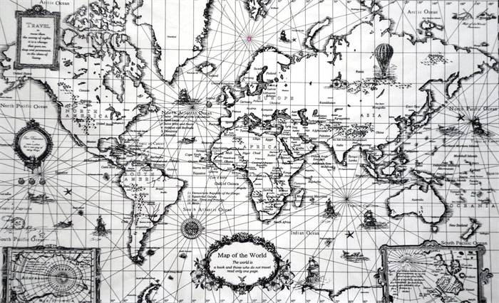 World map travel embroidery kit fabric map to sew or colour your world map travel embroidery kit fabric map to sew or colour your trip gumiabroncs Gallery