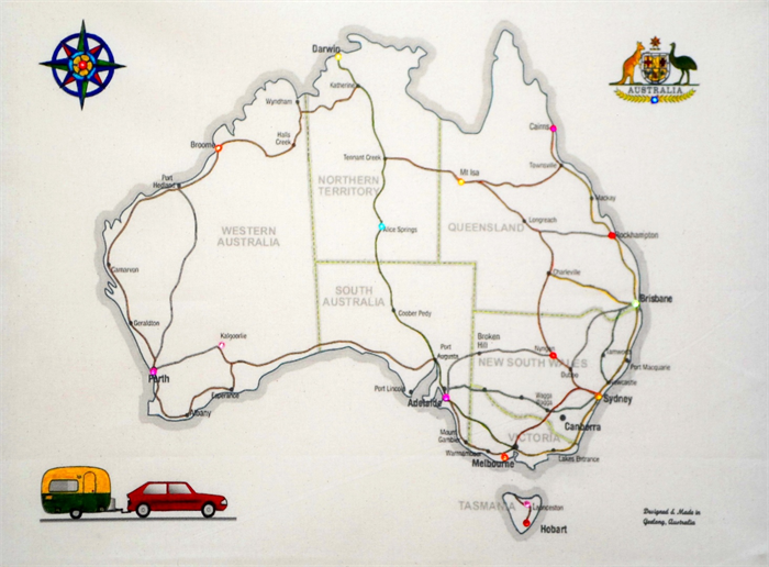 Australia travel embroidery kit fabric map to sew or colour your australia travel embroidery kit fabric map to sew or colour your trip sciox Choice Image